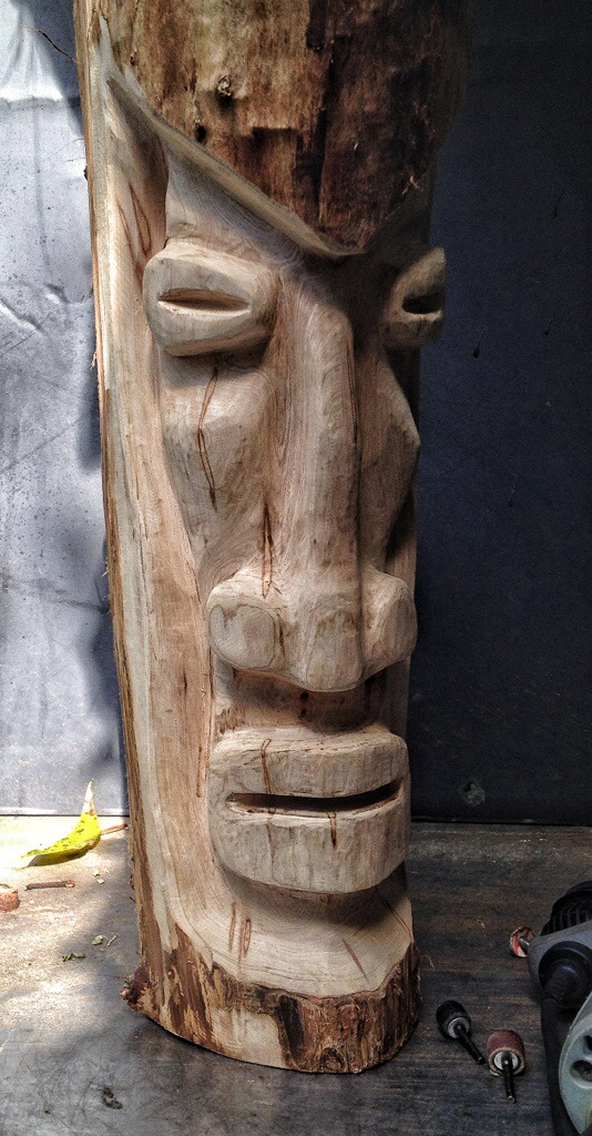 And now for something different a tiki man carving